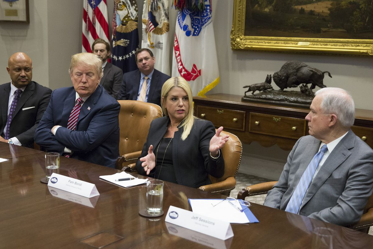 Florida Attorney General Pam Bondi speaks during a meeting with President Donald Trump, Attorney General Jeff Sessions and state and local officials on school safety at the White House.