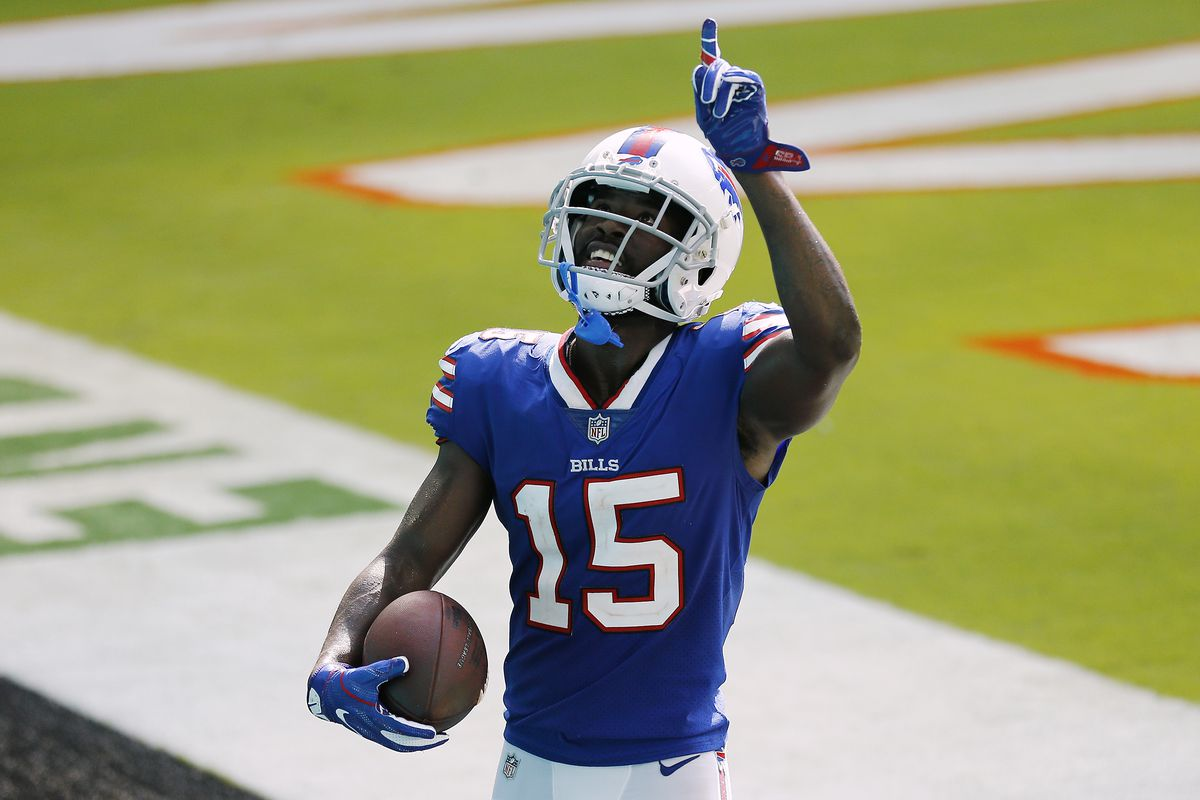 John Brown of the Buffalo Bills celebrates after a 46-yard touchdown pass from Josh Allen against the Miami Dolphins during the fourth quarter at Hard Rock Stadium on September 20, 2020 in Miami Gardens, Florida.