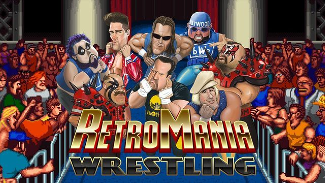 Concept art montage showing the roster for RetroSoft's RetroMania Wrestling