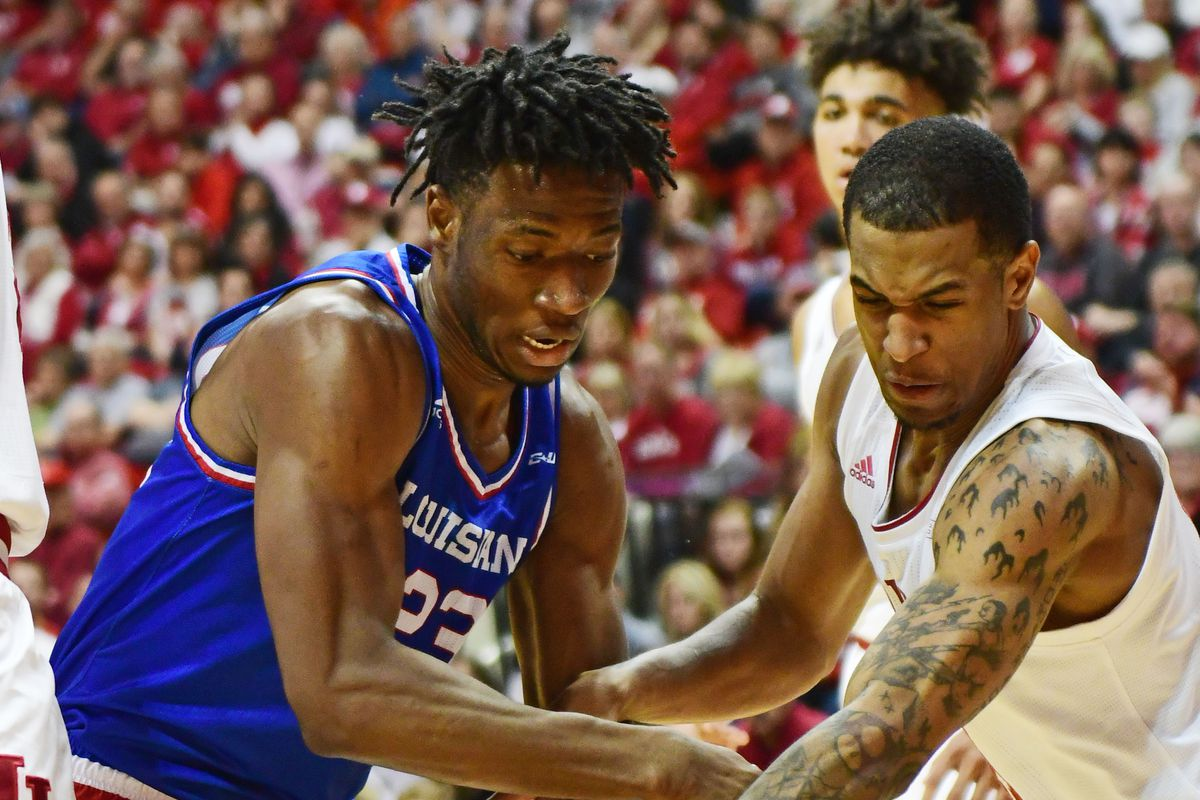 Louisiana Tech Bulldogs forward Mubarak Muhammed battles for a rebound with Indiana Hoosiers guard Devonte Green in the second half at Simon Skjodt Assembly Hall.
