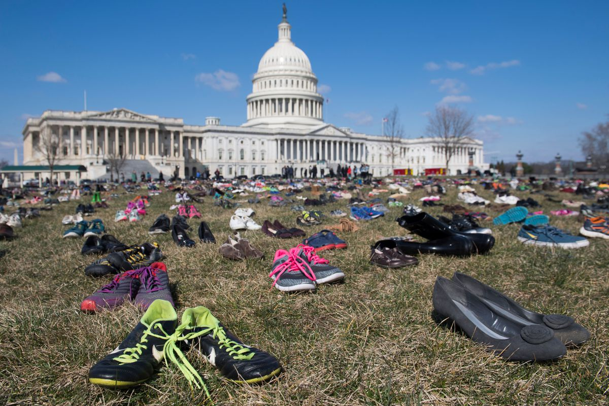 Shoe memorial represents thousands of victims of United States  gun violence