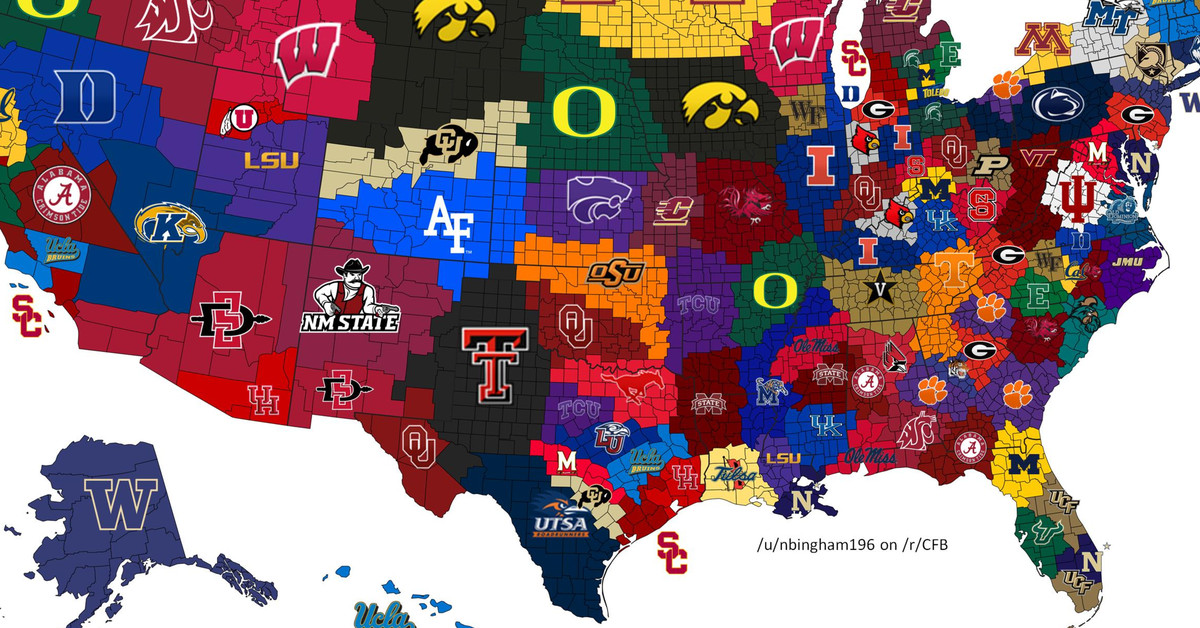 2017 college football map What if each winner took its opponents