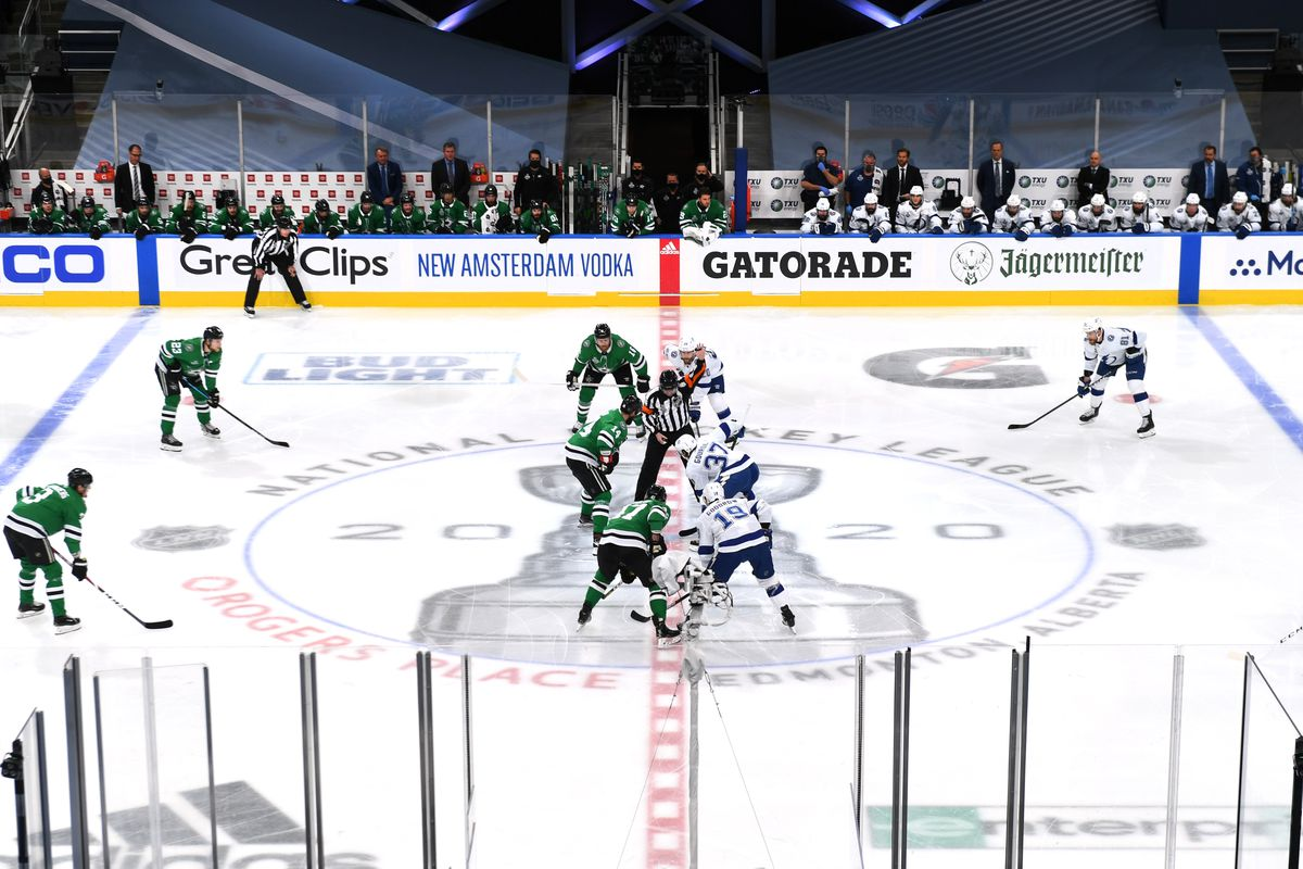 A general view is seen of the opening face-off at center ice in the first period of Game Six of the NHL Stanley Cup Final between the Tampa Bay Lightning and the Dallas Stars at Rogers Place on September 28, 2020 in Edmonton, Alberta, Canada.