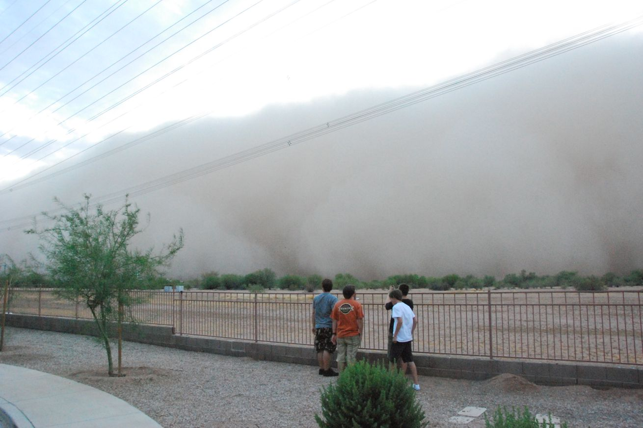 View of approaching 'haboob' during dust storm