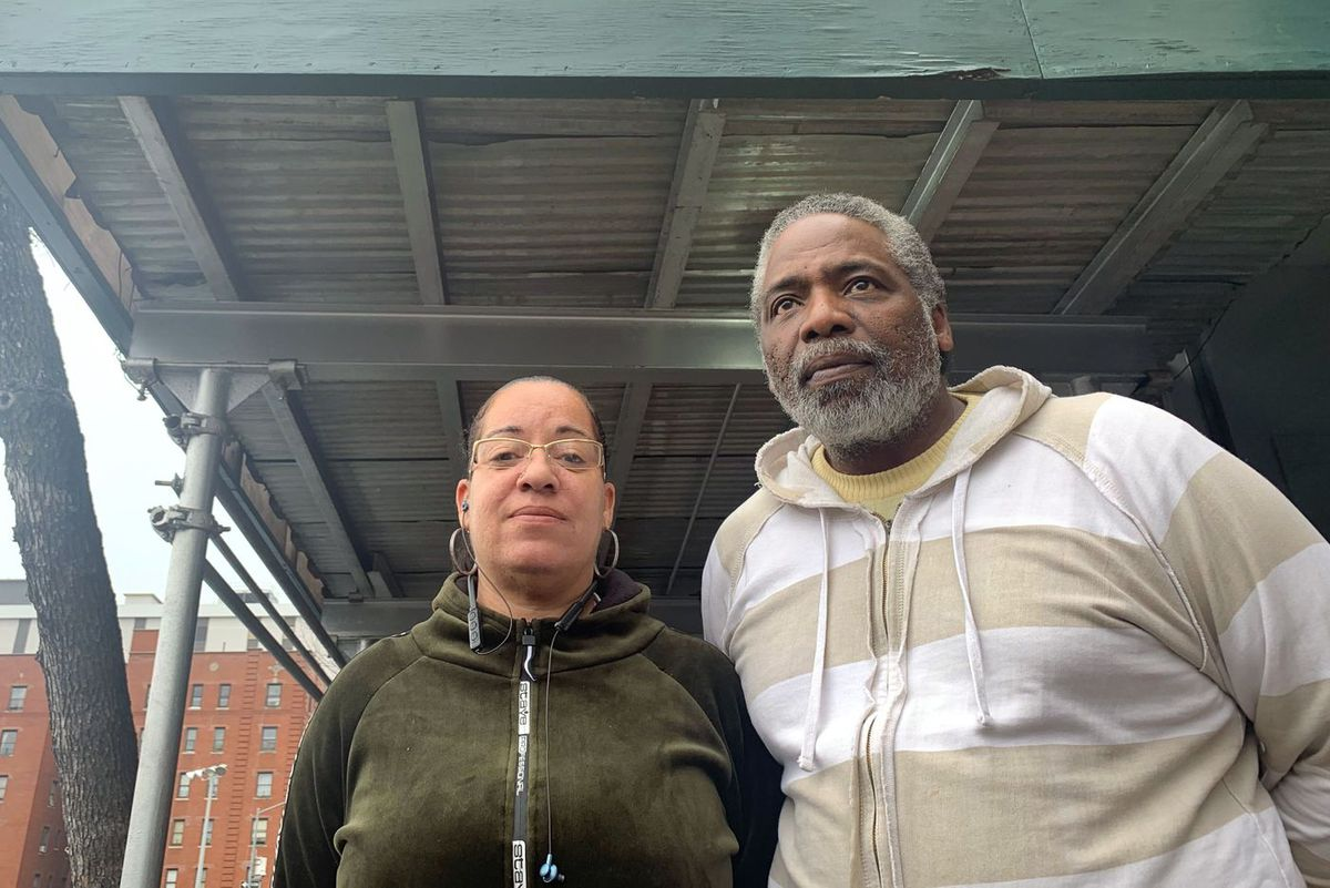 Cindi Codere, left, and Cedric Kannonier said while taking a smoke break outside the Queens Central Library they had something to like about nearly all of the Democrats in the primary.