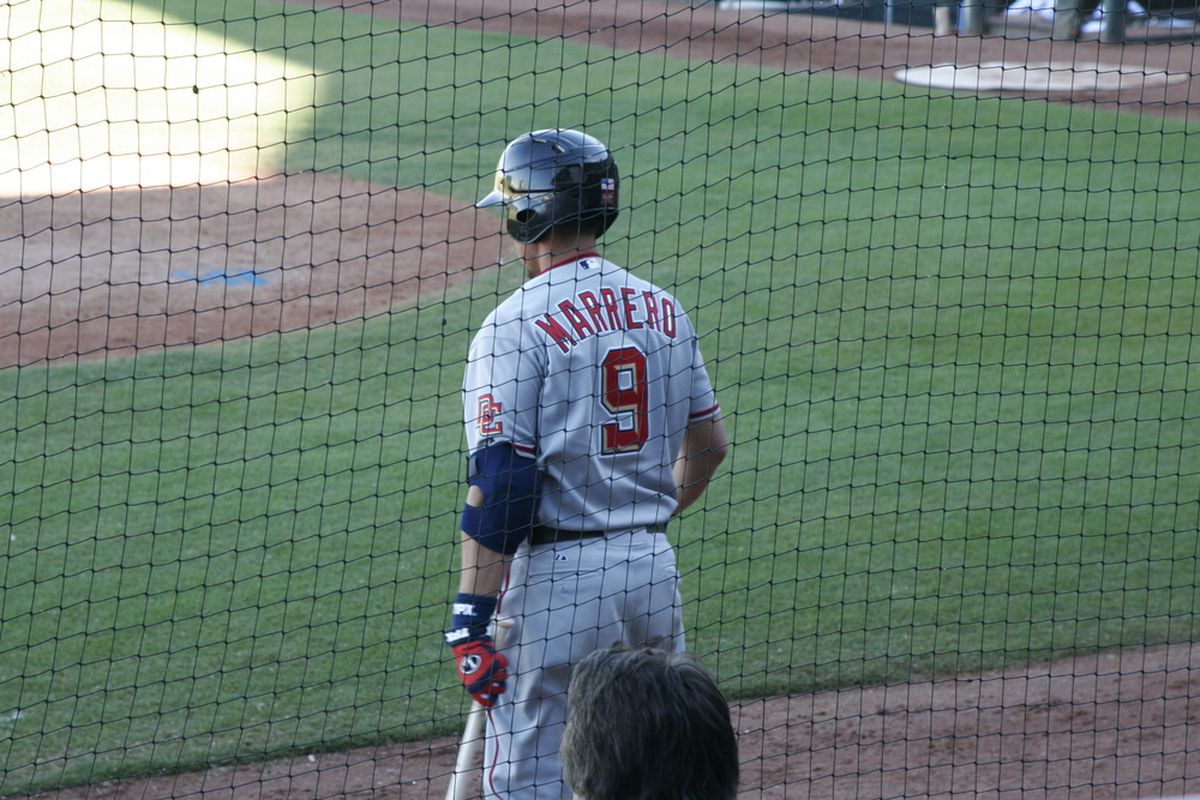Sorry, but don't expect '06 1st Round Pick Chris Marrero, seen here in the '09 Arizona Fall League, to replace Adam LaRoche if he does, in fact, go on the DL. (©Ed Chigliak)