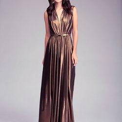 "Deep V-Neck Maxi Dress,<a href=""http://www.bebe.com/Clothing/Dresses/Cocktail-Evening/Deep-V-Neck-Maxi-Dress/15724.pro?keyword=metallic""> Bebe</a>, $198"