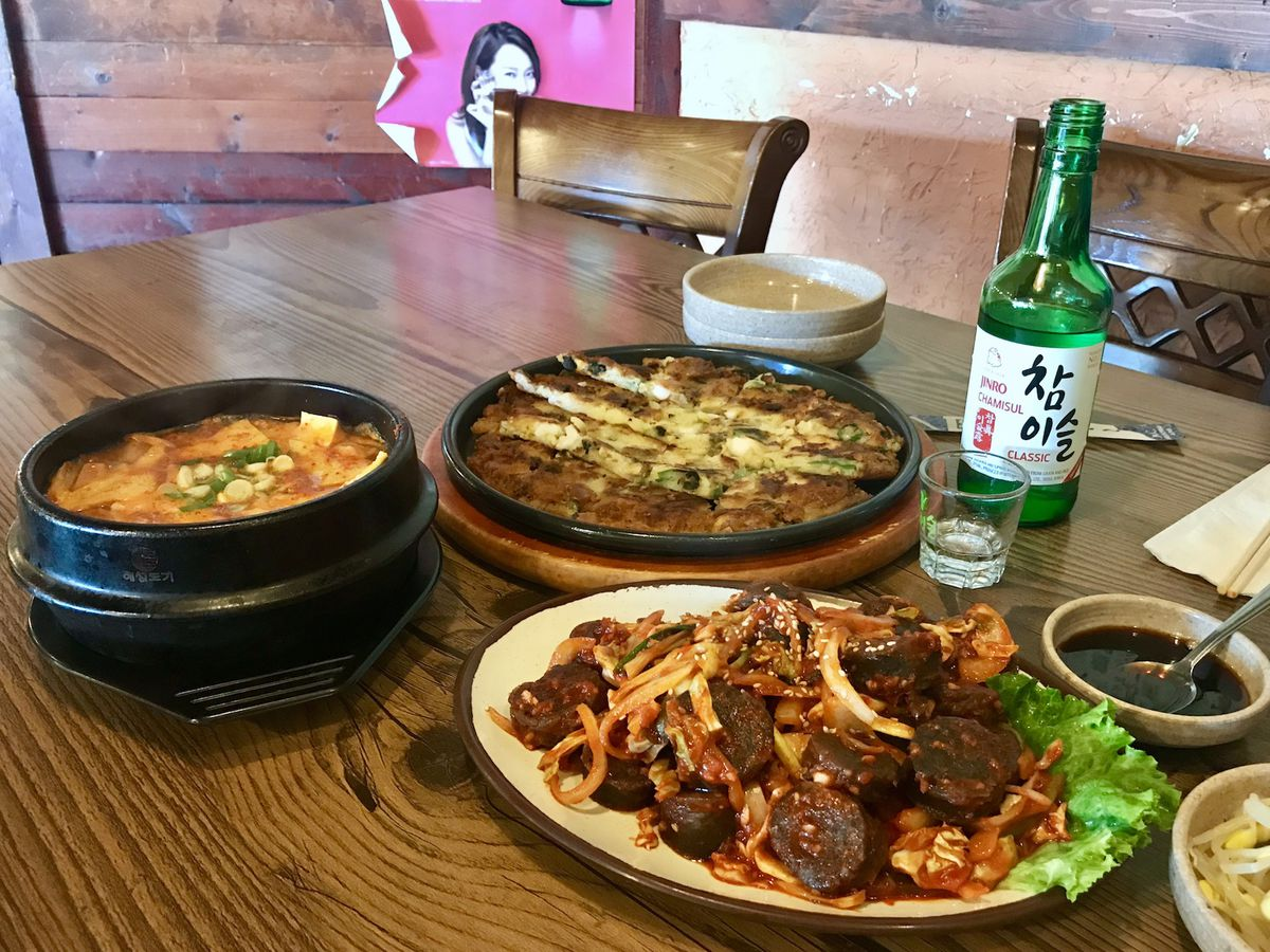 Table filled with Korean food