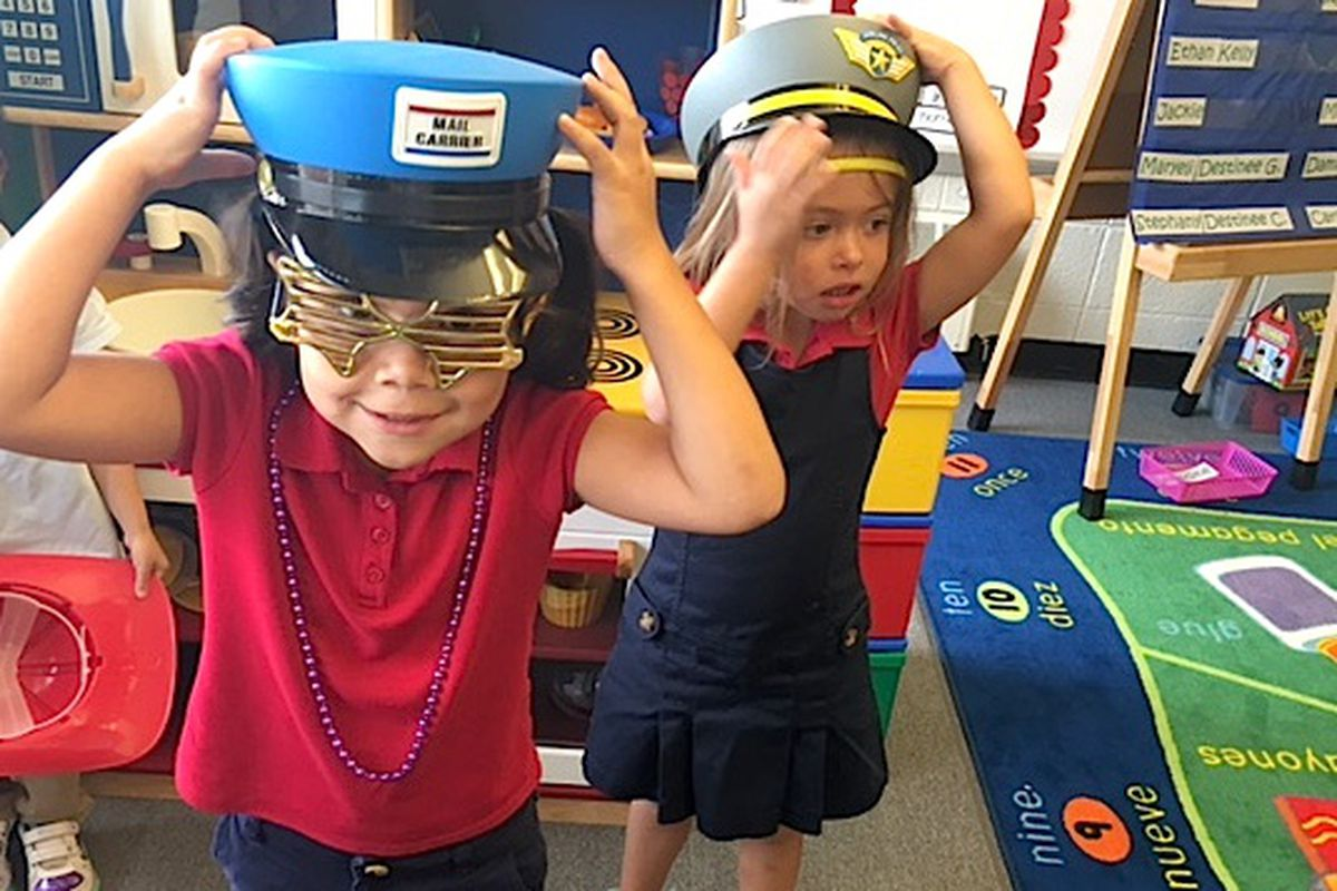 Preschoolers play dress-up on a recent morning at Fairview Elementary in the Westminster school district.