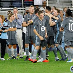 August 14, 2019 - Saint Paul, Minnesota, United States - The Minnesota United Unified Team celebrates the opening goal against the Colorado Rapids Unified Team in a match at Allianz Field.
