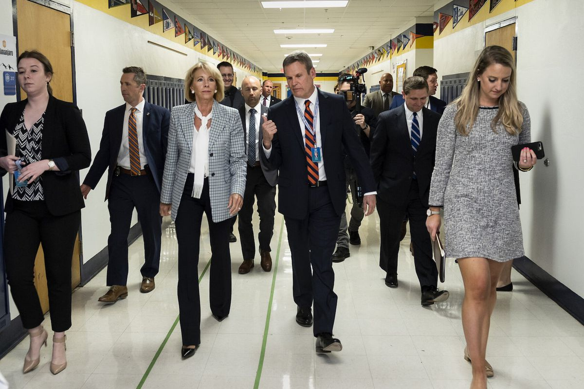 Gov. Bill Lee tours a Nashville charter school with U.S. Secretary of Education Betsy DeVos, who is also a charter school advocate and philanthropist.