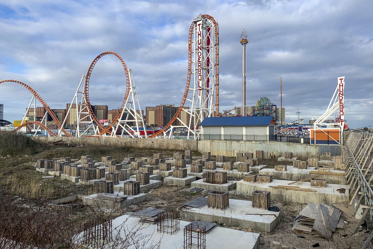 The site of the Coney Island amusement district expansion, next to the Thunderbolt ride.