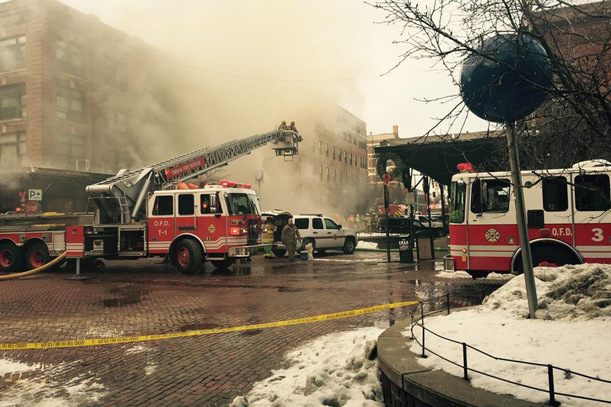 Bystander's report seeing flames explode out of the windows of M's Pub in Omaha, Nebraska on Saturday around 2:50 p.m.