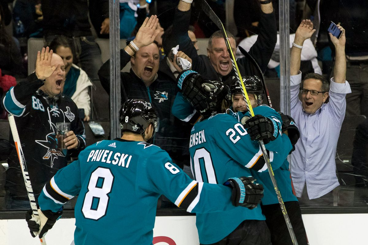 Apr 16, 2018; San Jose, CA, USA; San Jose Sharks left wing Marcus Sorensen (20) celebrates with right wing Joonas Donskoi (27) and center Joe Pavelski (8) after scoring a goal against the Anaheim Ducks of game three of the first round of the 2018 Stanley