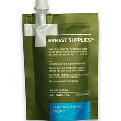 """This all-in-one natural shave cream by Ernest Supplies (<a href=""""http://www.ernestsupplies.com/collections/all/products/cooling-shave-cream"""">$25</a>) fights razor burn and moisturizes. Sounds nice, no?"""