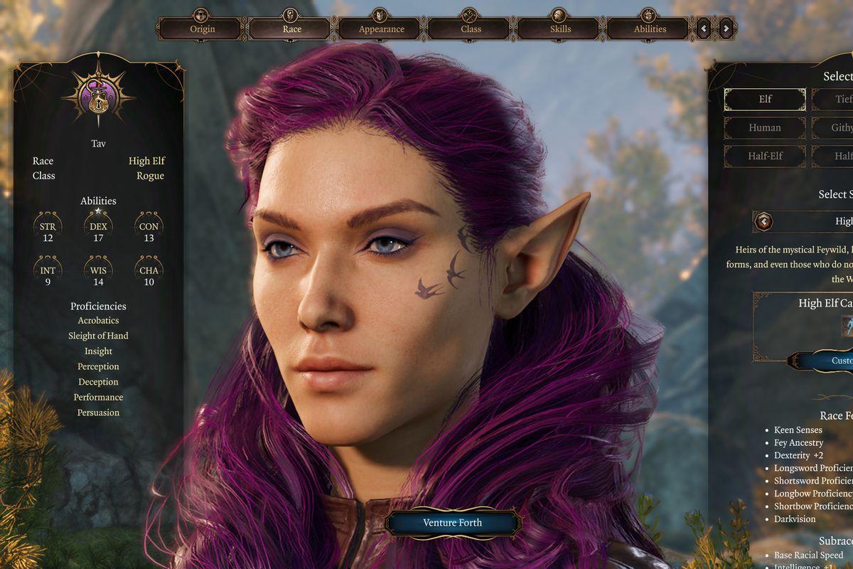 A purple-haired wood elf in Baldur's Gate 3.