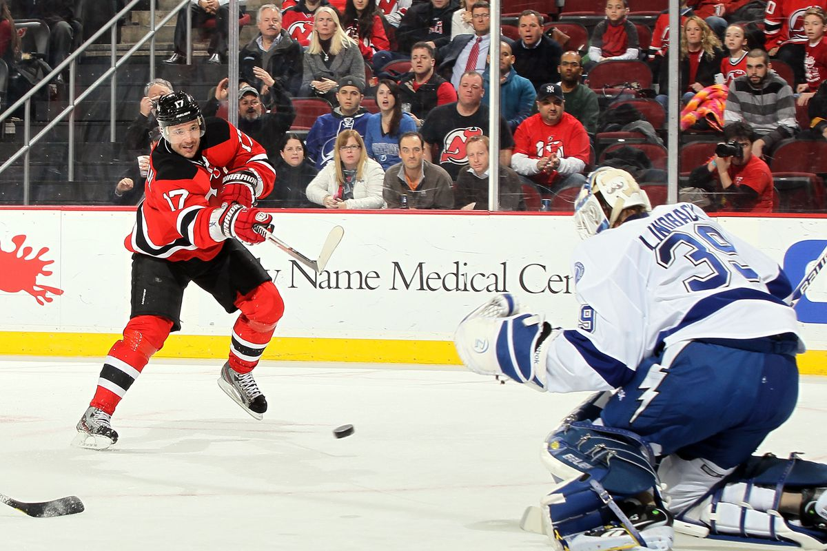 Anders Lindback has about one second at most before he was beaten by this shot by Ilya Kovalchuk.