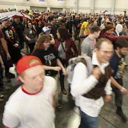 General admission attendees swarm into the exhibitor hall at the start of the first day of FanX at the Salt Palace Convention Center in Salt Lake City on Thursday, Sept. 5, 2019.
