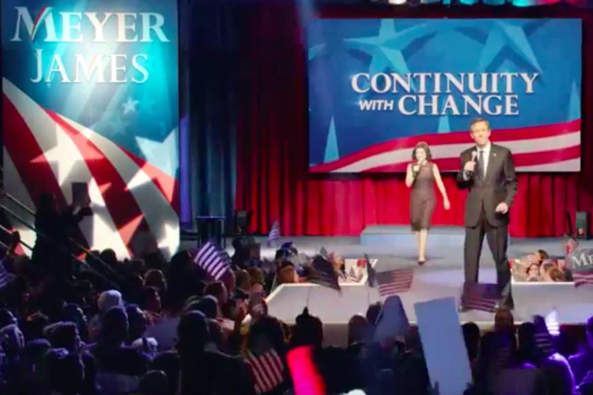 Julia Louis-Dreyfus as President Selina Meyer and Hugh Laurie as running mate Tom James in HBO's Veep.