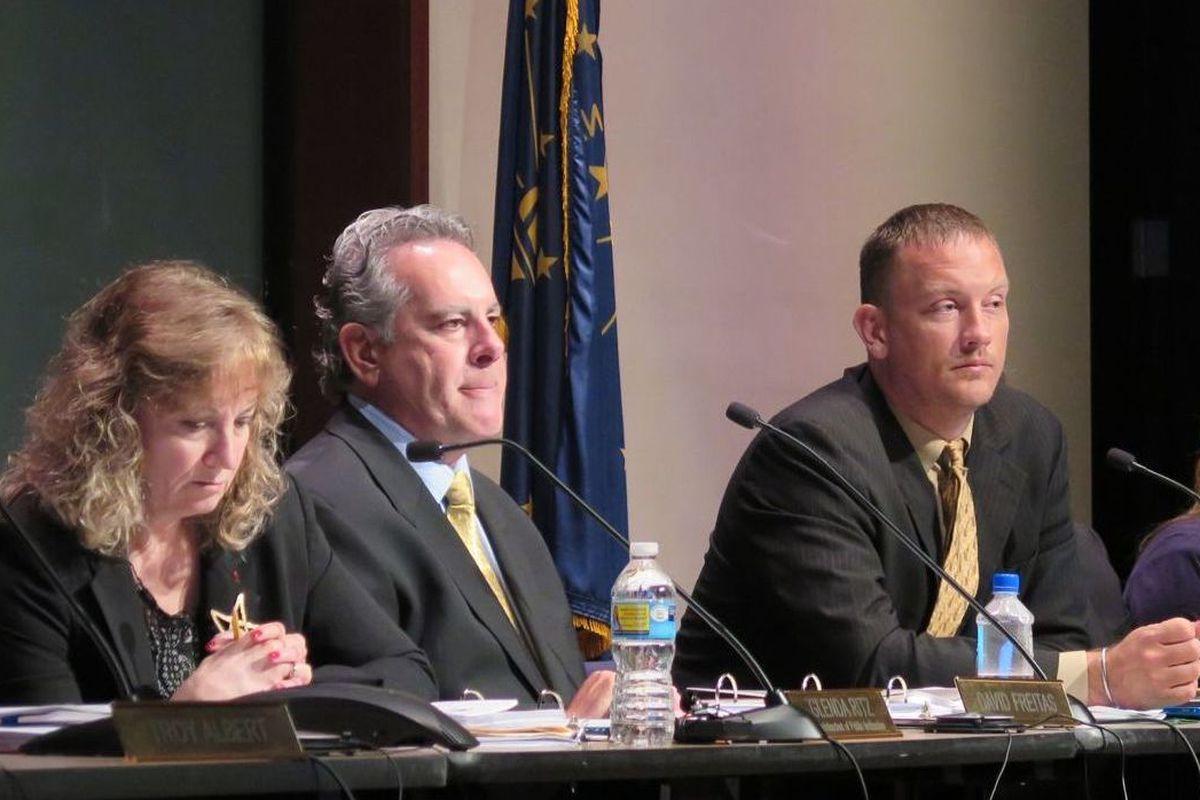State Superintendent Glenda Ritz and board members David Freitas and B.J. Watts at a 2015 meeting.