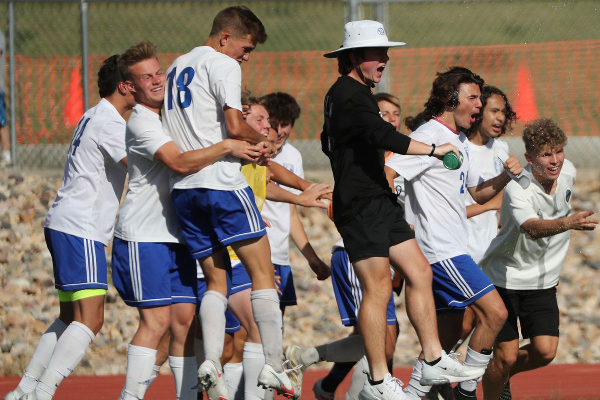 Fremont players celebrate their win over Davis in the 6A boys soccer quarterfinal in Kaysville on Thursday, May 20, 2021. Fremont won 2-1.
