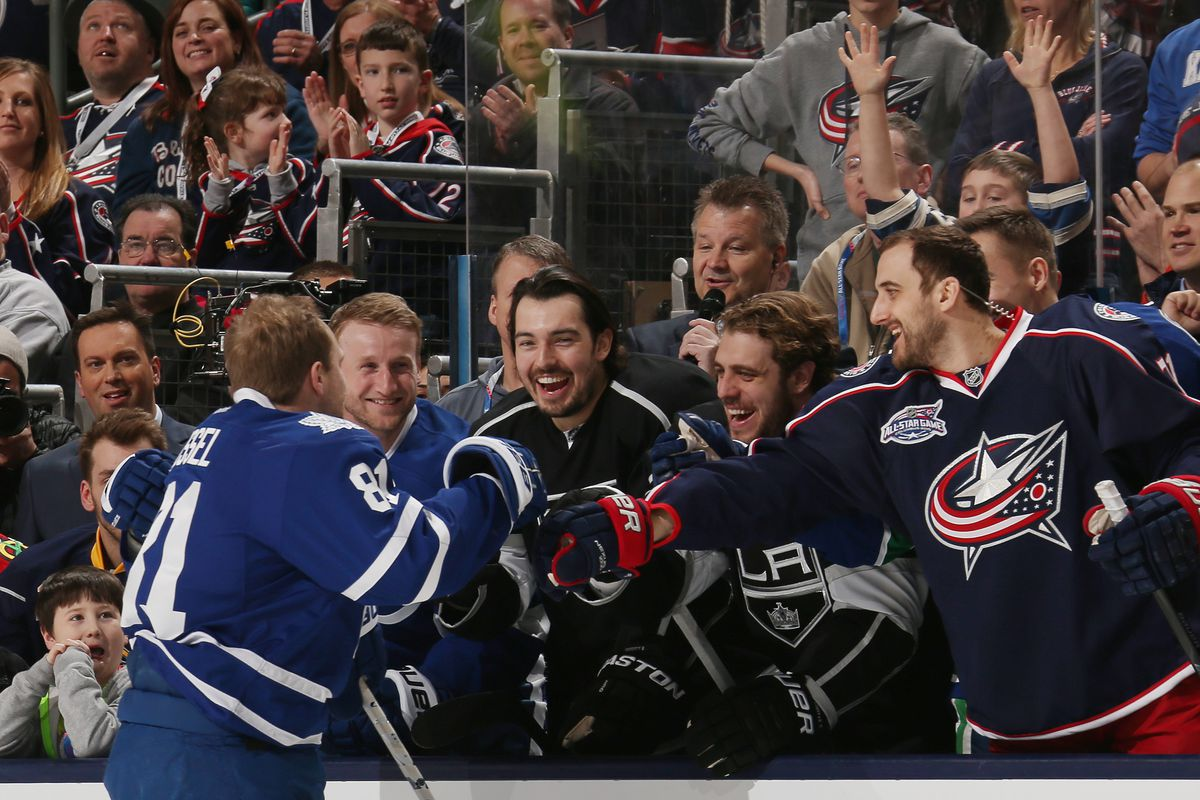 Wow look at how Stamkos is smiling at Doughty and Kopitar