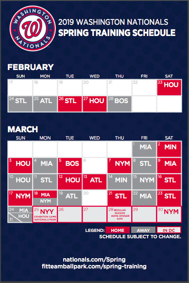 Washington Nationals announce 2019 Spring Training schedule