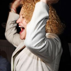 Jackie Biskupski reacts to reports that she is ahead in the mayoral race during her election night party in Sugar House on Tuesday, Nov. 3, 2015.