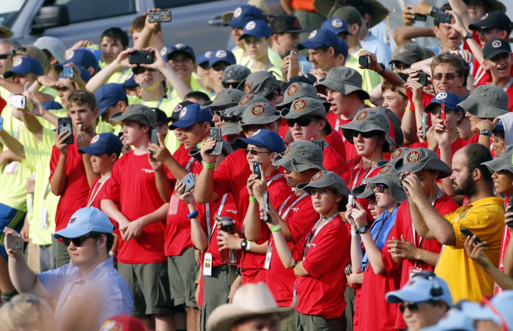 Scouts and their leaders listen to President Donald Trump at the 2017 National Boy Scout Jamboree at the Summit in Glen Jean, W.Va. on Monday.   Steve Helber/Associated Press