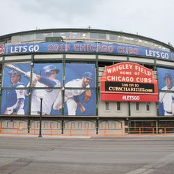 The view at Clark and Addison, showing the player banners and the Ernie Banks banners at the top -