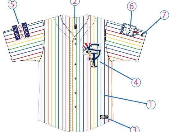 Staten Island Yankees Pride Night jersey, front.