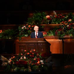 Elder Dale G. Renlund, a member of the Quorum of the Twelve Apostles of The Church of Jesus Christ of Latter-day Saints, speaks during the Sunday morning session of the 191st Semiannual General Conference in the Conference Center in Salt Lake City on Sunday, Oct. 3, 2021.