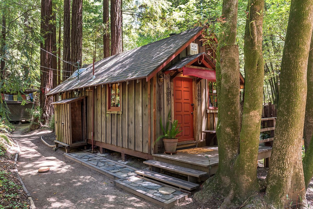 A tiny wooden cabin with red door and deck set among the woods.