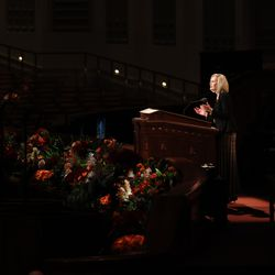 President Bonnie H. Cordon, Young Women general president, speaks during the Saturday morning session of the 191st Semiannual General Conference of The Church of Jesus Christ of Latter-day Saints at the Conference Center in Salt Lake City on Oct. 2, 2021.