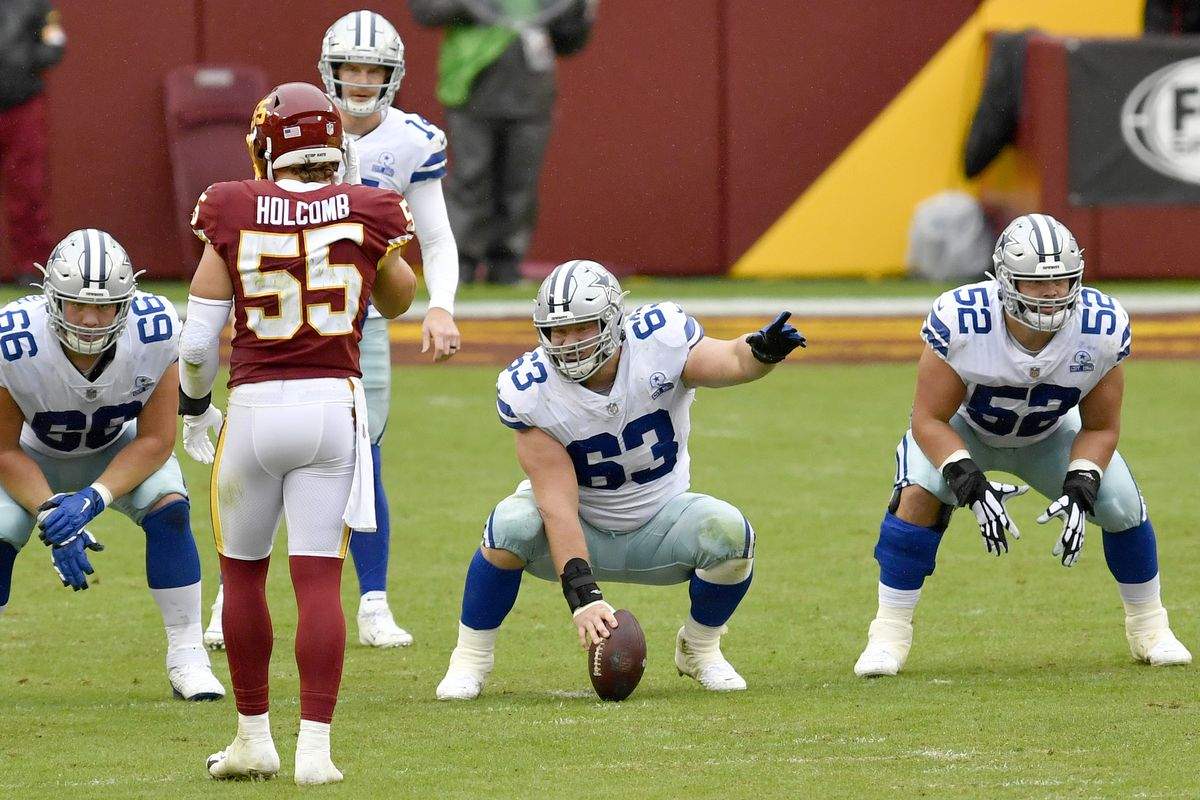Cowboys center Tyler Biadasz (63) points out a blocking assignment as guard Connor McGovern (66) and guard Connor Willaims (52) wait for the snap during the Dallas Cowboys vs. Washington Football Team NFL game at FedEx Field on October 25, 2020 in Landover, MD.