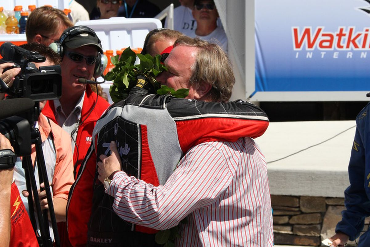 Justin Wilson embraces Dale Coyne after the two combined for the first-ever IZOD IndyCar Series victory at Watkins Glen, NY in 2009. (Photo: Ron McQueeney/IndyCar)