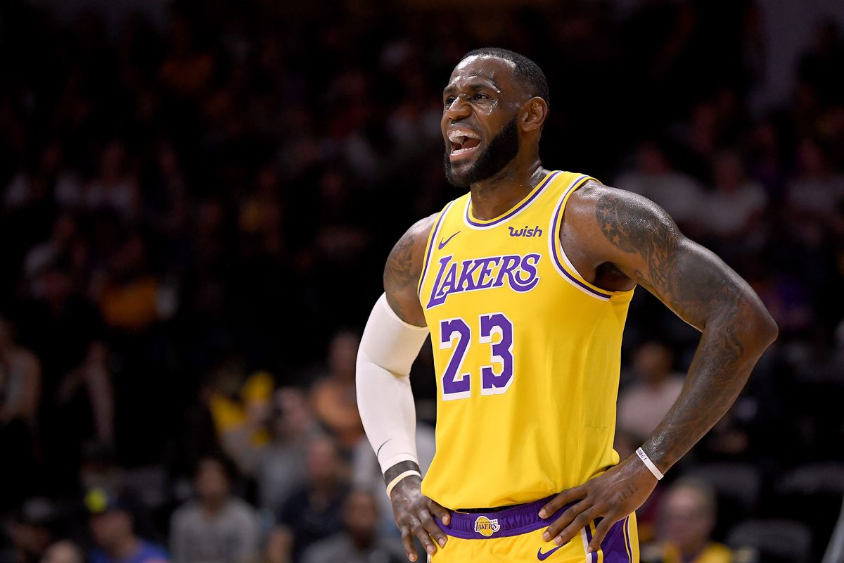 LeBron James in a Lakers jersey