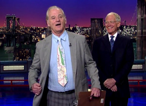 Bill Murray broke out a CTA map tie for this 2014 stint on Letterman.