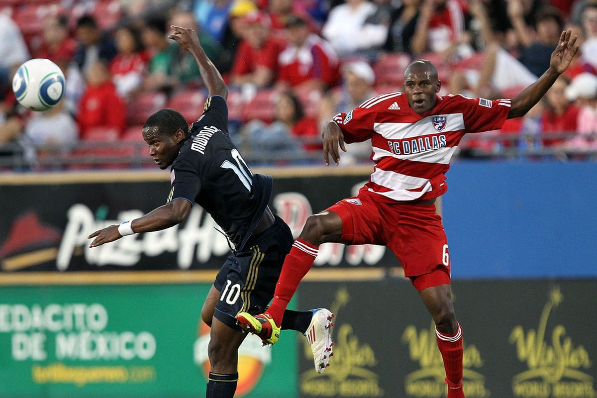 FRISCO, TX - MAY 14:  Forward Danny Mwanga #10 of the Philadelphia Union heads the ball against Jackson Goncalves #6 of FC Dallas at Pizza Hut Park on May 14, 2011 in Frisco, Texas.  (Photo by Ronald Martinez/Getty Images)