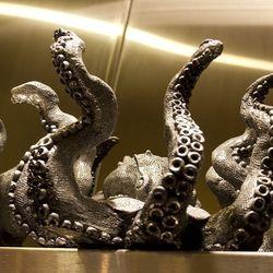 The octopus that holds the shellfish platter at Gordon Ramsay Steak.