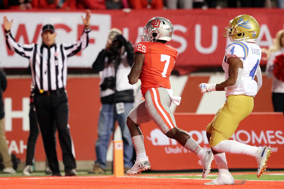 Utah Utes running back Devonta'e Henry-Cole (7) runs into the end zone for a touchdown as Utah and UCLA play a college football game in Salt Lake City at Rice-Eccles Stadium on Saturday, Nov. 16, 2019. Utah won 49-3.