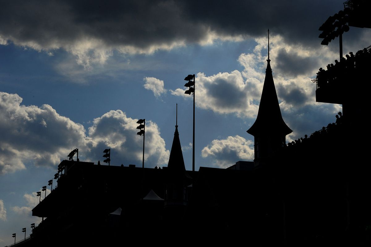 LOUISVILLE, KY - MAY 06:  The Twin Spires are seen during the 137th Kentucky Oaks at Churchill Downs on May 6, 2011 in Louisville, Kentucky.  (Photo by Harry How/Getty Images)
