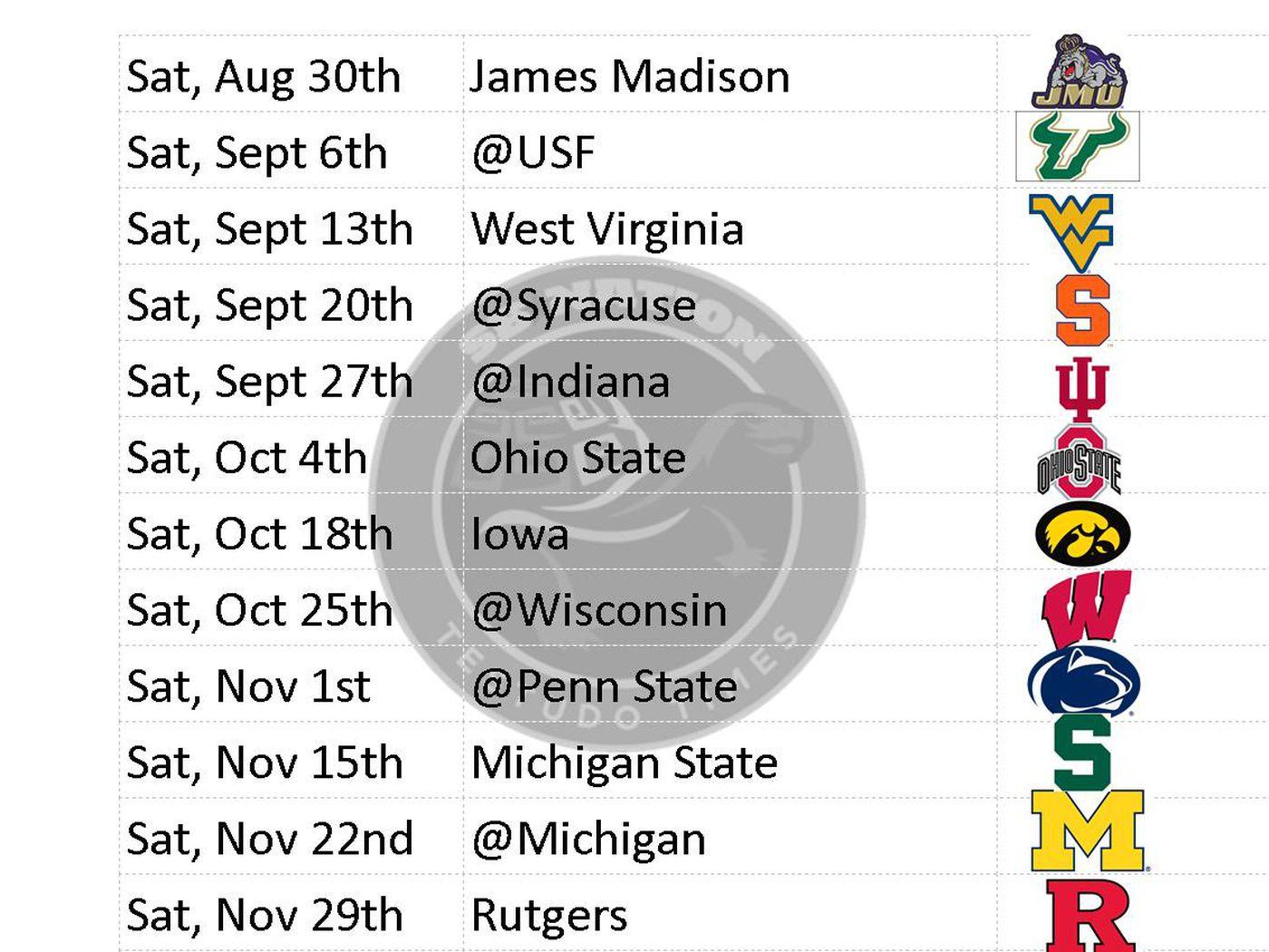 Printable Maryland Football Schedule 2014 Testudo Times
