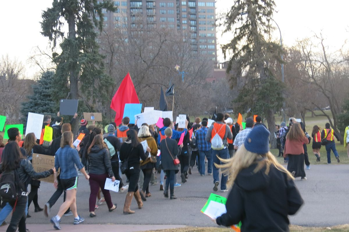 Students at a multi-school protest in Denver begin to march toward the state capitol.