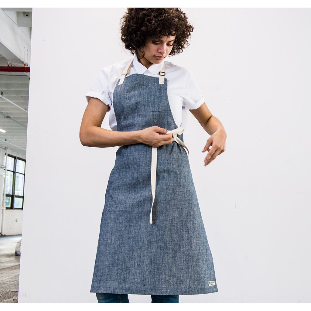Women/'s Full Butcher Style Apron in Black and White Black Apron Adult Apron Woman/'s Apron Full Apron