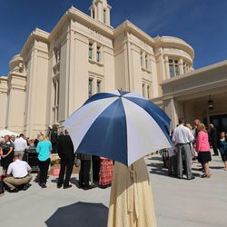Attendees watch the Payson Utah Temple cornerstone ceremony and dedication in Payson  Sunday, June 7, 2015.
