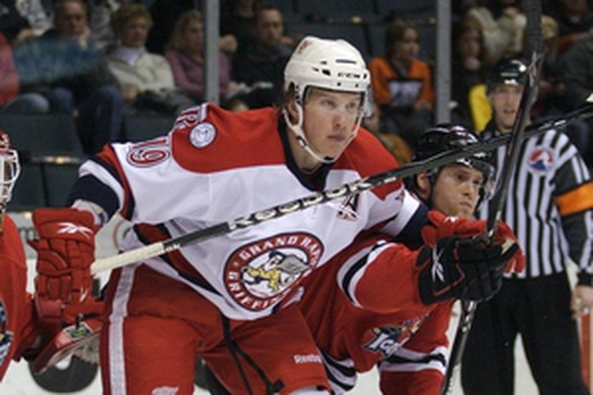 """Abdelkader netted his first Grand Rapids goal of the season. via <a href=""""http://griffinshockey.com.ismmedia.com/ISM3/thumbcache/0be5158dba7a888c73cb8b94e9ad5efe.300.jpg"""">griffinshockey.com.ismmedia.com</a>"""