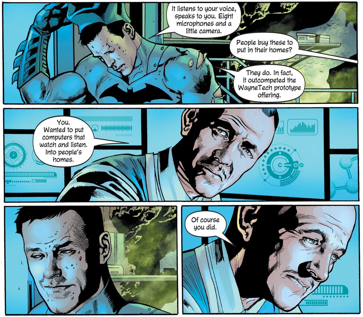 """""""You. Wanted to put computers that watch and listen. Into people's homes,"""" says Alfred. Bruce is silent but for a wry smile. """"Of course you did,"""" Alfred sighs, in The Batman's Grave #3, DC Comics (2019)."""