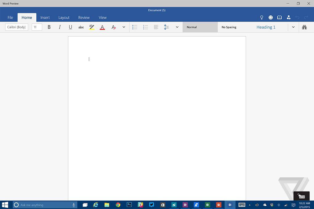 Word on Windows 10
