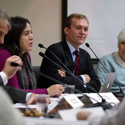 Shaleane Gee, second from left, speaks during a Collective Impact on Homelessness Steering Committee meeting at the Salt Lake County Government Center in Salt Lake City on Wednesday, Dec. 9, 2015.